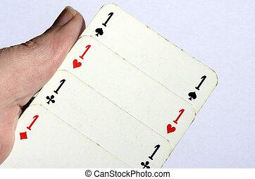 рука, держа, 4, aces