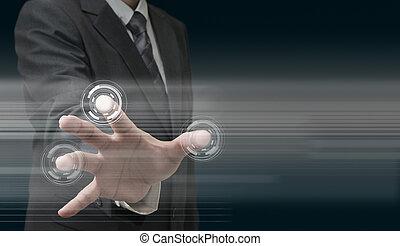 рука, за работой, на, современное, технологии