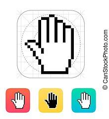 рука, курсор, 5, fingers., icon., пиксель
