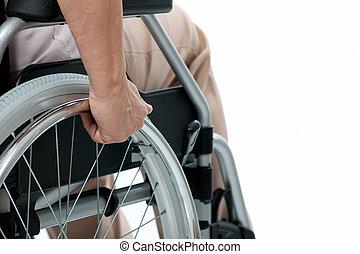 рука, на, инвалидная коляска