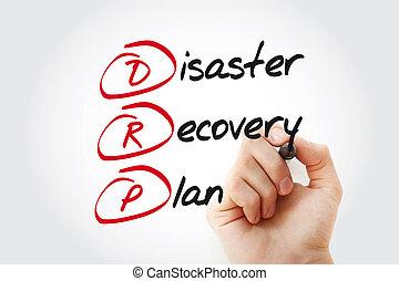 рука, письмо, drp, -, катастрофа, восстановление, план