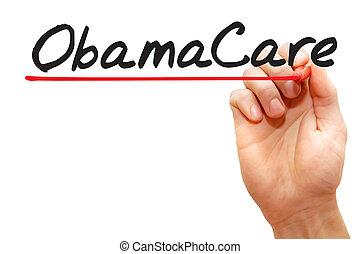 рука, письмо, obamacare, бизнес, концепция