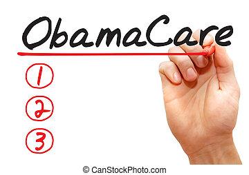 рука, письмо, obamacare, список, бизнес, концепция