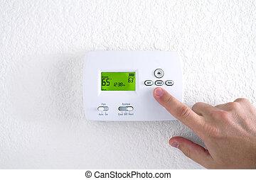 рука, прессование, кнопка, на, термостат