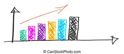 рука, привлечь, красочный, бизнес, увеличение, график, белый