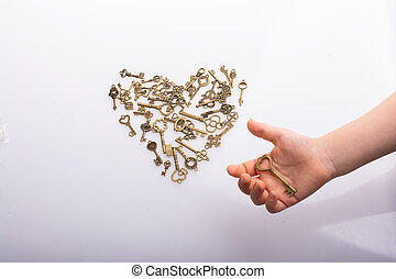 рука, ретро, стиль, ключ, люблю, концепция, металл