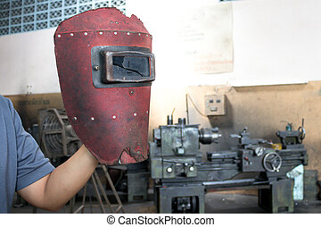 рука, сварка, сломанный, человек, красный, маска