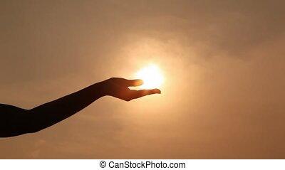 рука, силуэт, holds, солнце, на, пальма, compresses, and,...