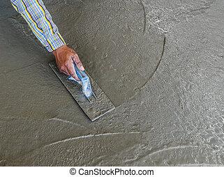 рука, с помощью, мастерок, к, конец, влажный, бетон, пол