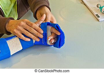 рука, физиотерапия, к, выздоравливать, , палец