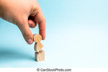 рука, человек, против, психологический, фигура, насилие, support., помощь, люди, collects, trauma., эмоциональное, лечение, rehabilitation., together.