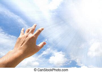 рука, reaching, вне