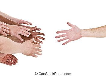 рука, reaching, для, помогите