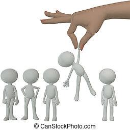 рука, selects, мультфильм, человек, из, группа, of, люди