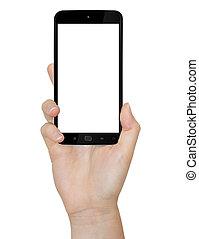 рука, with, мобильный, телефон