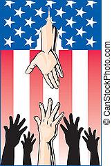 руки, reaching, для, правительство, помогите