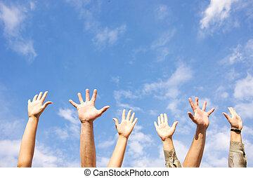 руки, rised, вверх, в, воздух, через, небо