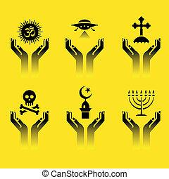 руки, with, религия, symbols