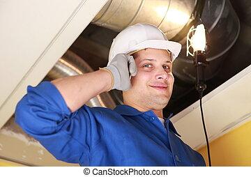 руководство, работник, inspecting, air-conditioning, система