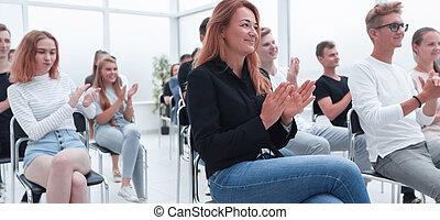 рукоплескать, молодой, view., seminar., задний, люди, в...