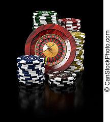 рулетка, with, чипсы, казино, концепция, 3d, иллюстрация, of, казино, games, elements
