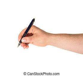 ручка, isolated, держа, рука