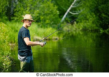 рыбак, ловит рыбу, молодой, терпение