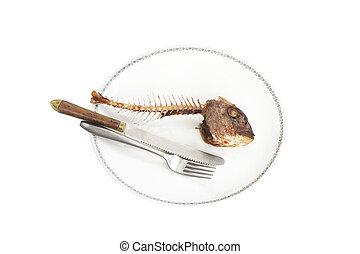 рыба, скелет, на, , пластина