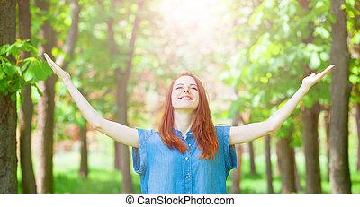 рыжеволосый, весна, time., парк, девушка