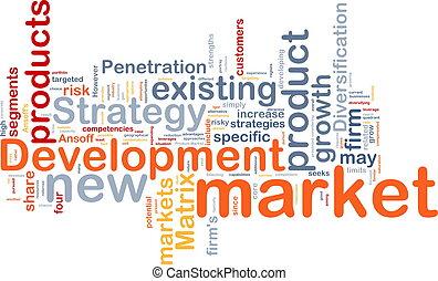 рынок, разработка, задний план, концепция