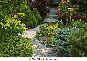 сад, дорожка, with, камень, landscaping