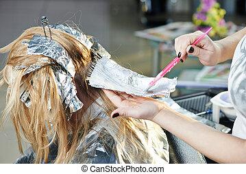 салон, женщина, highlight., парикмахерское дело