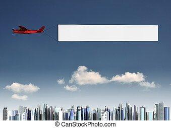 самолет, баннер
