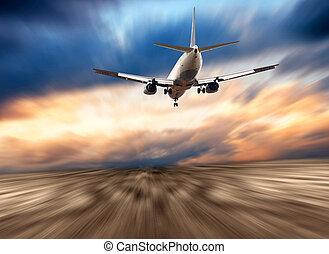 самолет, на, , синий, небо