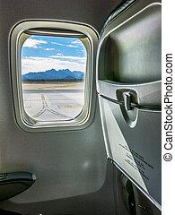 самолет, сиденье, окно, посмотреть