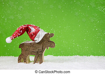 санта, клаус, with, красная шапка, -, деревянный, олень, на, зеленый, рождество, backgr