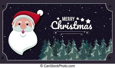 санта, счастливый, лес, веселый, клаус, карта, pines, рождество