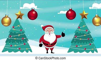 санта, trees, веселый, клаус, счастливый, карта, pines, рождество