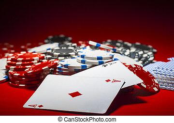 , свая, of, покер, чипсы, and, , пара, of, aces