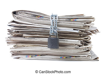 свая, of, newspapers, with, chains
