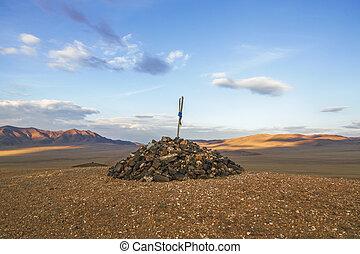 свая, of, stones, порция, в виде, , ориентир, на, гора,...