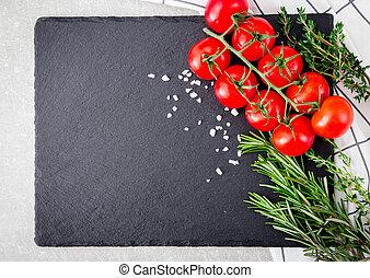 свежий, вишня, помидоры, with, травы, and, spices