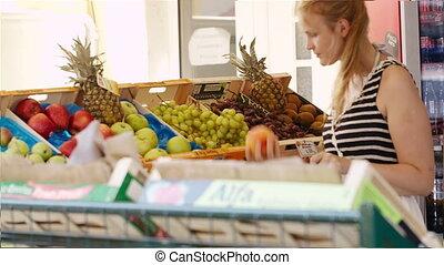 свежий, женщина, поход по магазинам, молодой, фрукты