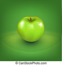 свежий, зеленый, яблоко