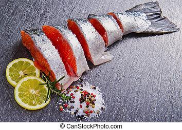 свежий, кусочек, лосось