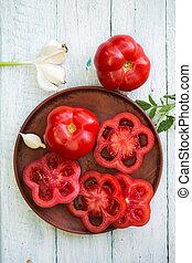 свежий, помидор, на, , пластина