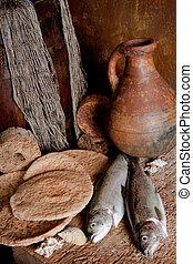 свежий, рыба, and, хлеб