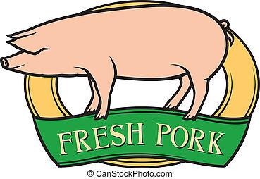 свежий, свинина, метка