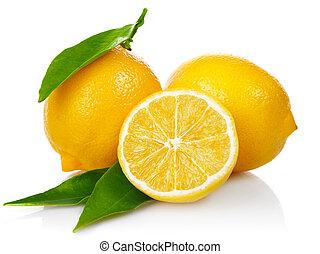 свежий, lemons, with, порез, and, зеленый, leaves