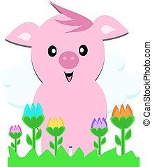 свинья, тюльпан, розовый, сад